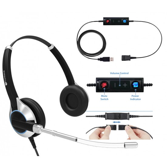 TruVoice HD-350 Binaural Voice Tube Headset Including USB Adapter Cable
