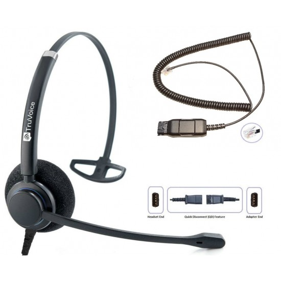 TruVoice HD-100 Monaural Noise Canceling Headset Including QD Cable for Avaya IP Phones