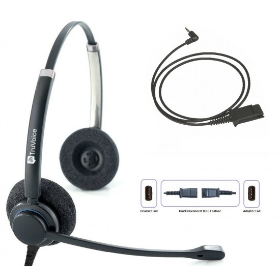 TruVoice HD-150 Binaural Noise Canceling Headset Including QD Cable for Cisco SPA Phones