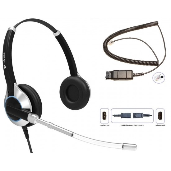 TruVoice HD-350 Binaural Voice Tube Headset Including QD Cable for Avaya IP Phones