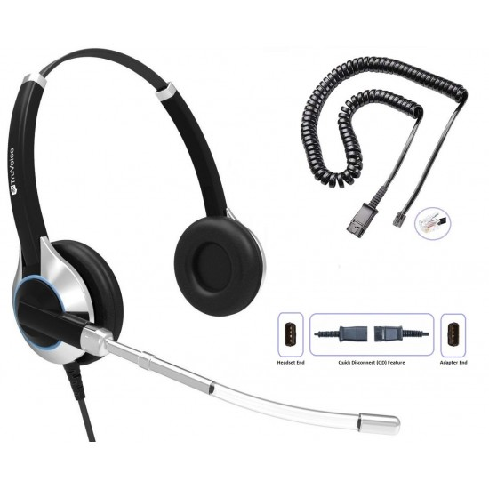TruVoice HD-350 Binaural Voice Tube Headset Including QD Cable for ShoreTel Phones