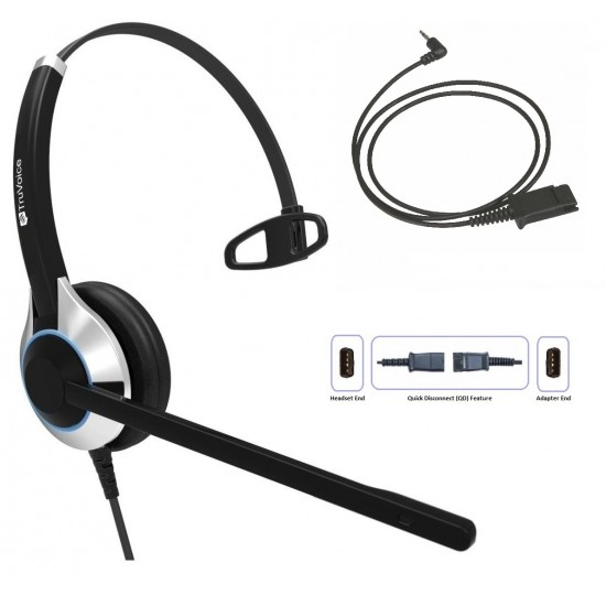 TruVoice HD-500 Monaural Noise Canceling Headset Including QD Cable for Cisco SPA Phones