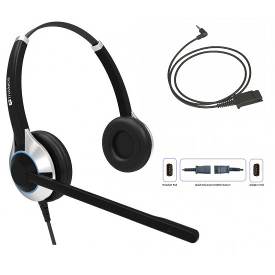 TruVoice HD-550 Binaural Noise Canceling Headset Including QD Cable for Cisco SPA Phones
