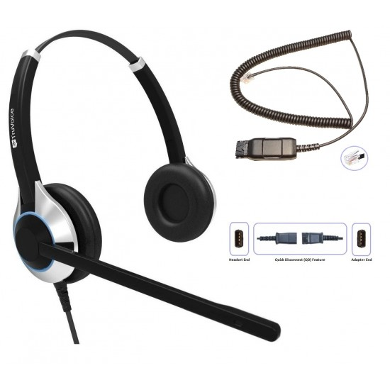 TruVoice HD-550 Binaural Noise Canceling Headset Including QD Cable for Avaya IP Phones