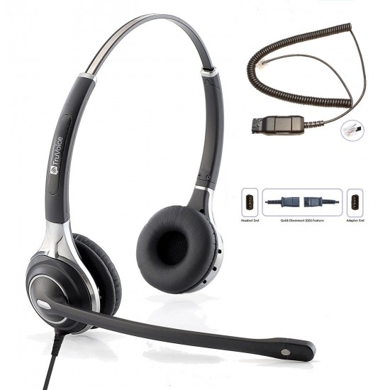 TruVoice HD-750 Binaural Noise Canceling Headset Including QD Cable for Avaya IP Phones